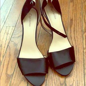 Black satin open toe shoes